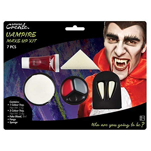 Adults Ladies Mens Vampire Make Up Face Paint Kit Fake Blood Fangs Teeth Halloween Fancy Dress Costume Accessory ()