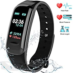 Fitness Tracker HR Activity Tracker - Watch with Blood Pressure Monitor, IP67 Waterproof Activity Tracker with Heart Rate Sleep Monitor Calorie Pedometer for Kids Men and Wome n