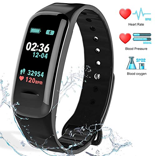 Fitness Tracker HR Activity Tracker - Watch with Blood Pressure Monitor, IP67 Waterproof Activity Tracker with Heart Rate Sleep Monitor Calorie Pedometer for Kids Men and Wome n ()