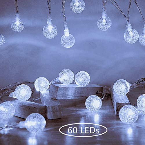 Ollny Globe String Lights 33ft 60 LEDs Cool White Plug in for Christmas Bedroom Indoor Outdoor Fairy String Lights with Remote and Timer for Wedding Party Garden Decoration Waterproof NOT CONNECTABLE from Ollny