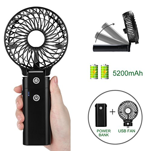 COMLIFE Handheld Fan 5200mA Power Bank, Rechargeable Battery Operated Fan with 5-20 Hours Working Time,3 Speeds,Strong Airflow, Foldable Design by COMLIFE