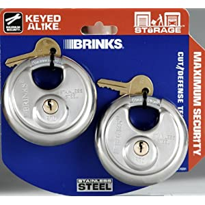 Brinks 153-70201 Stainless Steel Padlocks with Shielded Shackle, 2-13/16-inch (70mm), 2 pack