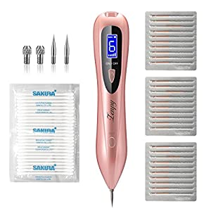 Zenpy Mole Removal Pen 58 in 1 Professional Removal Tool Kit 6 Strength Levels Beauty Pen for Body Facial Freckle Nevus Warts Age Spot Skin Tag Tattoo Remover with LCD Display (RoseGold) (RoseGold)