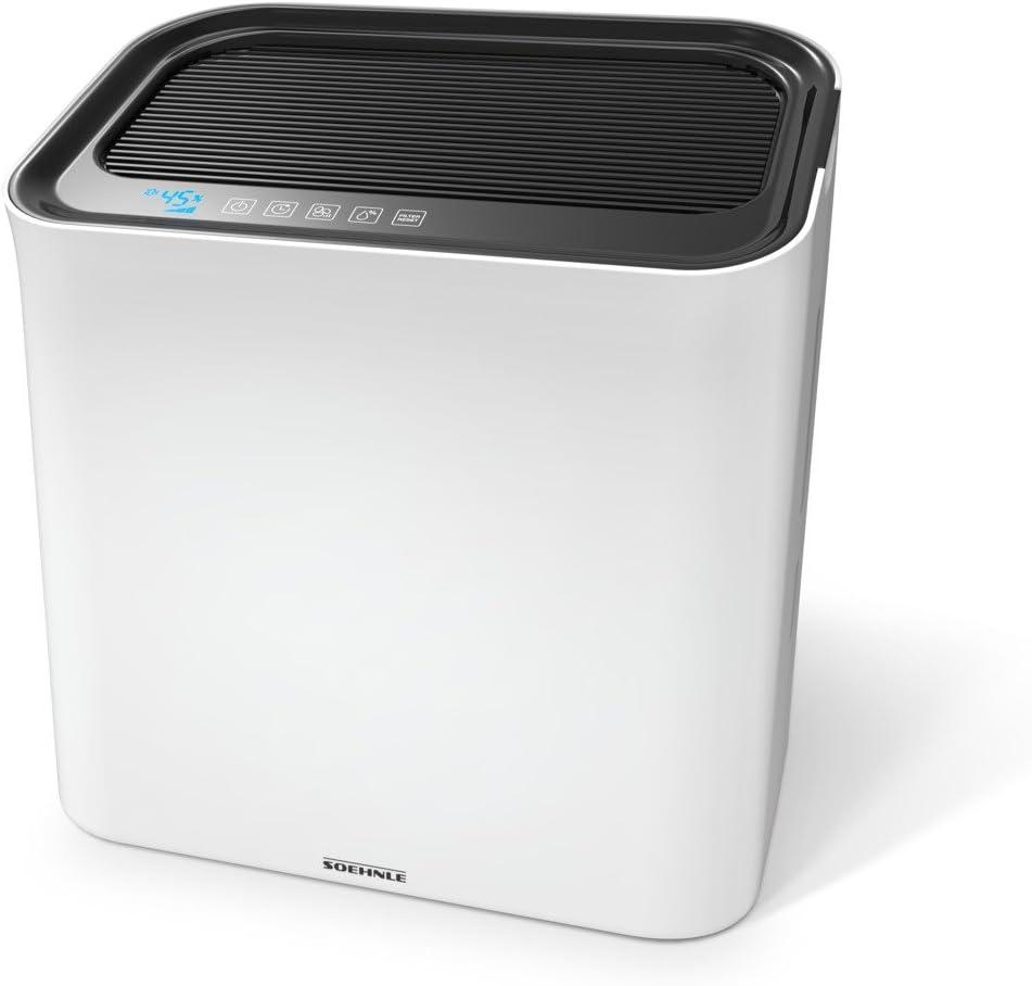 Soehnle AirFresh Wash 500 Purificador de Aire 3 en 1, humidifica y Limpia, Filtro en Tres Capas, Pantalla LCD, Color Blanco/Gris, 43 x 64.7 x 47.3 cm