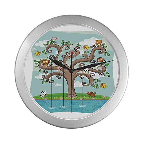 "C COABALLA Kids Simple Silver Color Wall Clock,Tree of Life Cartoon Art Monkey Doggy Bunny Bee Kitten Roosterken Birds Fishing Print Decorative for Home Office,9.65"" D"