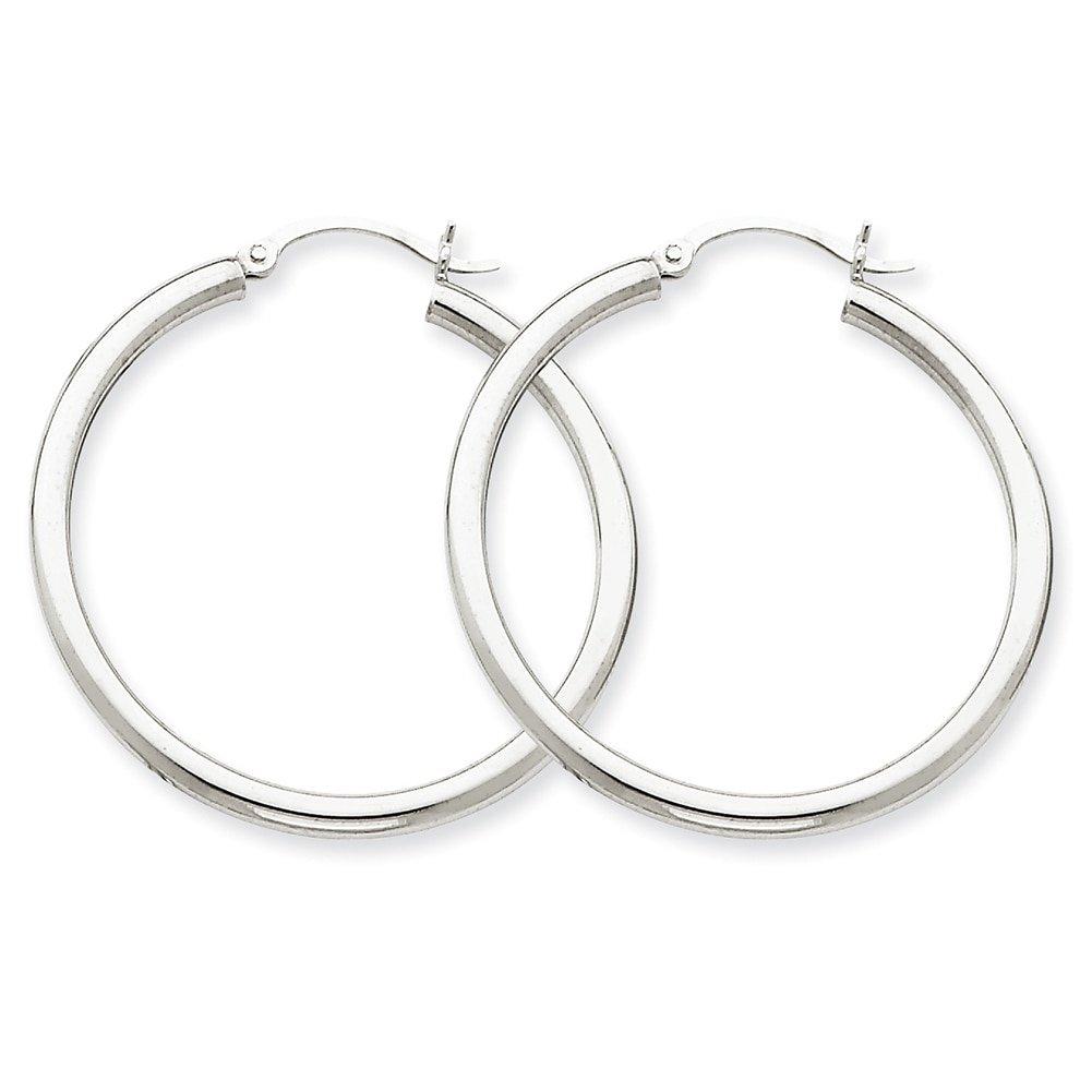 Lex /& Lu 14k White Gold 2.5mm Round Hoop Earrings LAL81450