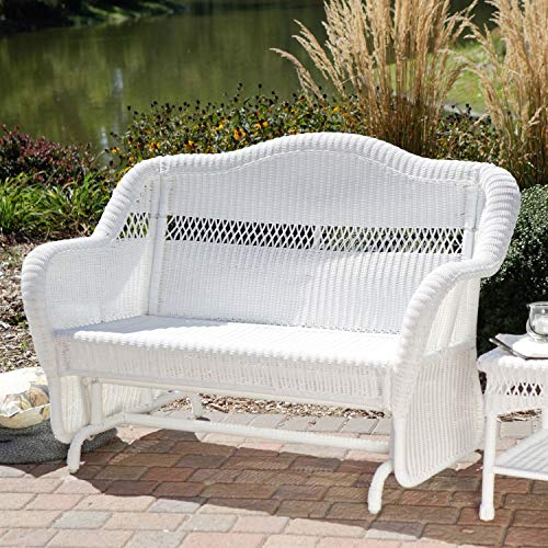 StarSun Depot White Resin Wicker Outdoor 2-Seat Loveseat Glider Bench Patio Armchair