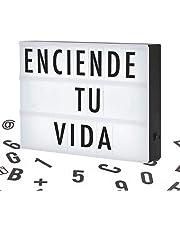 Letrero Luminoso LED Tipo Cine, Cartelera Vintage con Retroiluminación, 96 Letras, Números y Símbolos, Tamaño A4, Portátil