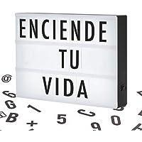 Salandens Letrero Luminoso LED Tipo Cine, Cartelera Vintage con Retroiluminación, 96 Letras, Números y Símbolos, Tamaño A4, Portátil