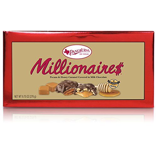 - Pangburn's Millionaires Candy Box 9.75 Ounce Pangburn's Millionaires Candy Box 9.75 Ounce; Buttery Pecans, Creamy Caramel, Honey, and Mouthwatering Milk Chocolate; Texas Born, and Loved by All