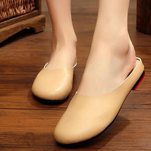Backless Scuff Slip white Mule Flats Slipper SUNROLAN Casual Womens On Off Outdoor Loafer Leather Shoes nxgx0qYwA