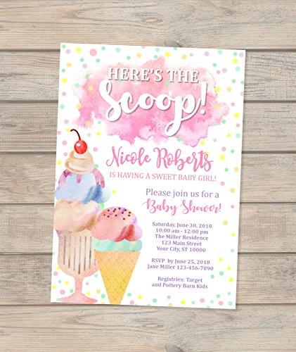 Ice Cream Baby Shower Invitation, Watercolor Ice Cream Social Baby Girl Shower Invitations, Here's The Scoop Ice Cream Baby Shower -
