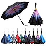 BAGAIL Double Layer Inverted Umbrellas Reverse Folding Umbrella Windproof UV Protection Big Straight Umbrella for Car Rain Outdoor with Straight Handle