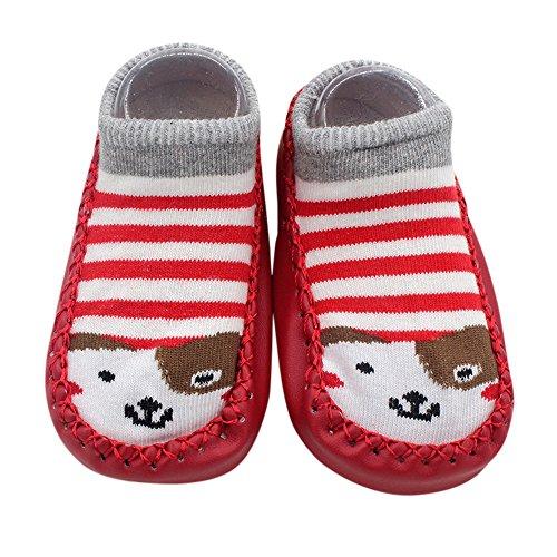 Girls Red And Gold Super Boots (Cartoon Newborn Baby Girls Boys Anti-Slip Socks Slipper Shoes Boots (Medium, Red))