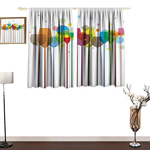 Hill Cherry Wine Bar (Jinguizi Winery DecorPolyester curtainColorful Stylish Tall Wine Glasses Alcohol Drink Beverage Fizzy Champaine Party Bar Art DesignPrinting Insulation W84 xL72 Multi)