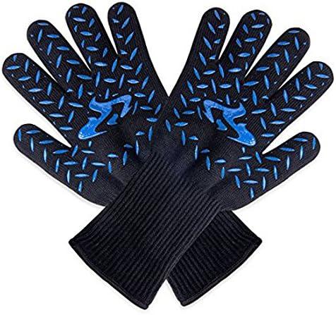 ガーデニング用手袋 編む高温ホット500度オーブンミット防火シリコーンバーベキューグリルと断熱安全手袋 園芸 採掘 植栽 枝切り 防護手袋