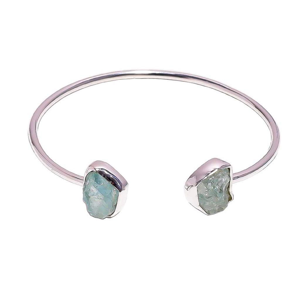 925 Sterling Silver Bangle, Natural Raw Aquamarine Handcrafted Women Jewelry RSB61