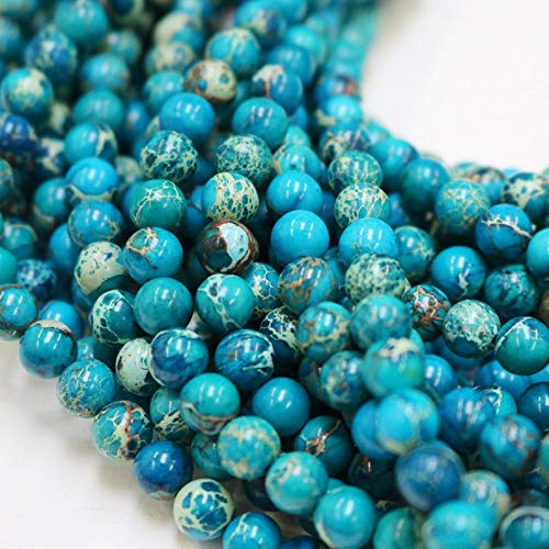 8mm Beads, Impression Jasper, Dark Blue Beads, Round Beads, Glossy Beads, Full Strand, 16 inches, Approx. 48 Beads.
