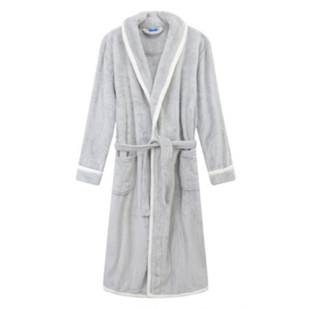 NAN Liang Womens Luxury Soft Cotton Bathrobe Men Dressing Gown Belted Bath Robe Housecoat Full Length (M  3XL) (color   B, Size   XL)