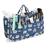 Cosmetic Bag for Women Cute Printing 14 Pockets Expandable Makeup Organizer Purse with Handles (Cat)