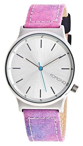 Komono Unisex reloj con mecanismo de cuarzo plateado esfera analógica y correa de piel multicolor KOM