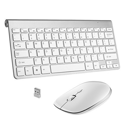 Wireless Keyboard, Ergonomic Wireless Keyboard Mouse Whisper Quiet Keys Mini Slim Portable Laptop Notebook PC Computer Windows OS Android - Silver White by SINCO