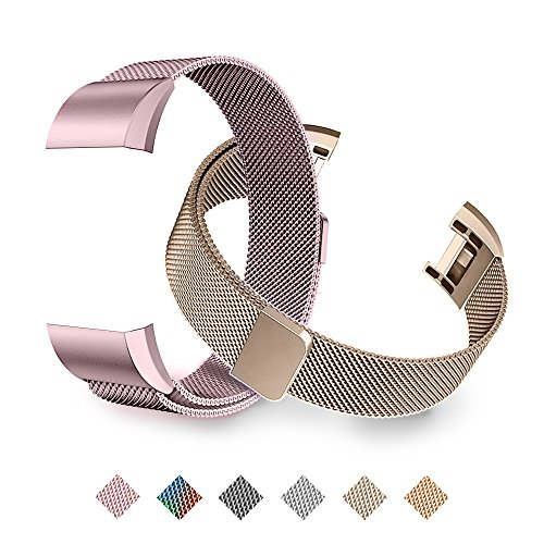 Tecson Magnetic Bands Compatible Fitbit Charge 2 (Pack of 2), Stainless Steel Metal Milanese Replacement Strap with Magnet Lock for Fitbit Charge 2, Champagne Gold and Rose Pink
