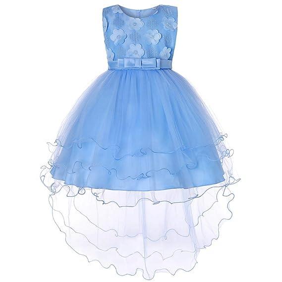 ZhuiKunA Vestido de Niña de Flores, Princesa Fiesta Tul Bowknot ...