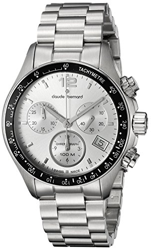 Claude Bernard Men's 10212 3 AIN Analog Display Swiss Quartz Silver Watch
