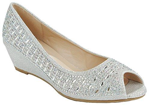 Women Fisher Silver Open Toe Sparkle Glitter Rhinestone Formal Comfort Mid Wedge Heel Dress Pumps-6 by JJF Shoes