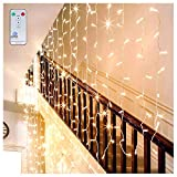 LED Curtain Lights Window Curtain Fairy Lights 306 LEDs 3m x 3m Indoor Warm White Ollny Icicle String Lights with Remote for Wedding Xmas Christmas Outdoor Party Decorations