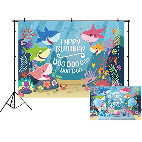 (Cartoon Shark Backdrop for Birthday Decorations Baby Shower Party Banner Baby Shark Photography Backdrops 7x5ft Vinyl Summer Underwater Photo Background Studio Props Dessert Table)