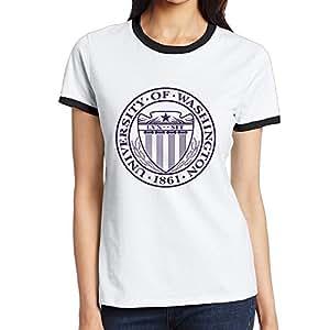 Custom Women's Vintage Two-toned Shirt University Of Washington U-Dub Black Size S