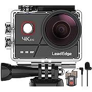 LeadEdge A20 Action Cam 4K/30FPS 1080P/60FPS 20MP Unterwasserkamera Externes Mikrofon WiFi Anti-Shake Bildstabilisator…