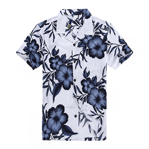 Palm Wave Men's Hawaiian Shirt Aloha Shirt 3XL White with Navy Floral