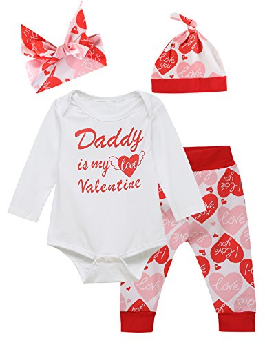 Truly One Baby Girls' Outfit Set Daddy Is My Valentine Long Sleeve Romper (0-3 Months)