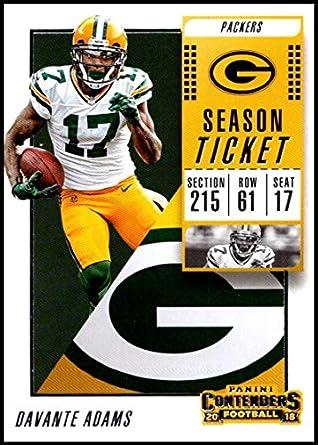 10d5c803 2018 Contenders NFL Season Ticket (Base) #64 Davante Adams Green Bay  Packers Official