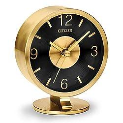 Citizen Clocks Citizen CC1028 Decorative Desk Clock, Gold-Tone