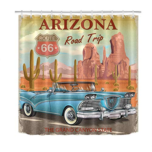 (LB Route 66 Shower Curtain Set Vintage Arizona Road Trip Cactus Bathroom Curtain with Hooks Holiday Decorations 72x72 inch Waterproof Polyester Fabric Bathtub Curtain Durable)