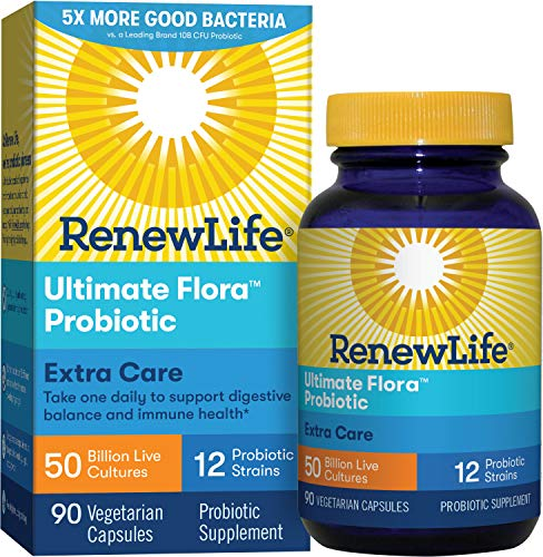 Renew Life Adult Probiotic - Ultimate Flora Extra Care Probiotic Supplement - Gluten, Dairy & Soy Free - 50 Billion CFU - 90 Vegetarian Capsules (Best Way To Stop Constipation)