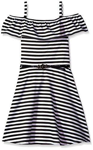 Amy Byer Big Girls' Off Shoulder Stripe Dress with Front Ruffle, Black, 12 (Tween Party Dress)