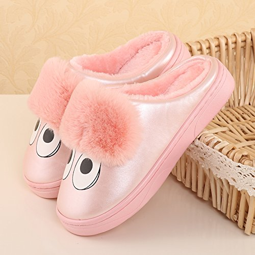 Pink chauds Chaussons d'hiver peluche Chaussures intérieur LaxBa Slipper Cotton Hommes Padded Femmes antiglisse Rq7nZA
