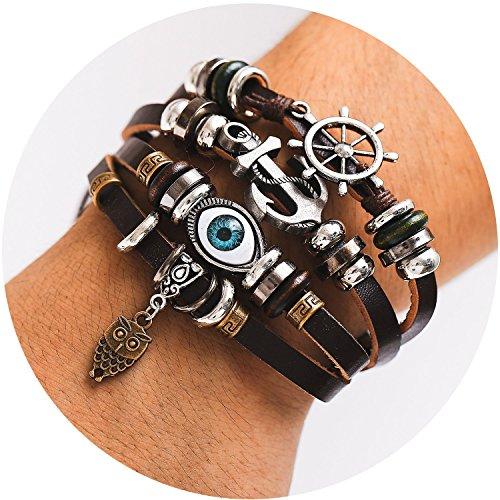 Owl Hemp - 77Fine Leather Wrap BOHO Bracelet Anchor Evil Eye Owl Navy Bracelet Adjustable Handmade Bead Bracelet for Man Woman