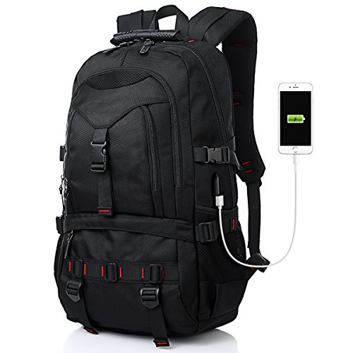Fashion Laptop Backpack Contains Multi-Function Pockets, Tocode Durable Travel Backpack with USB Charging Port Stylish Anti-Theft School Bag Fits 17.3 Inch Laptop Comfort Pack for Women & Men–Black I