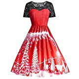 Makeupstore Christmas Women Lace Patchwork Printing Vintage Gown Maxi Dress