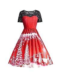 FarJing Dress, Women Lace Vintage Patchwork Printing Gown Party Dress
