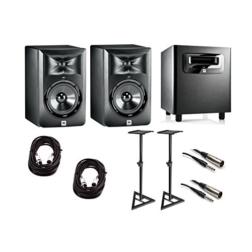 JBL LSR 305 Powered Studio Monitors (Pair) + LSR 310s Sub, Stands, & Cables Bundle