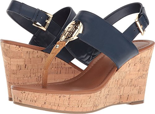 Tommy Hilfiger Women's Manne Navy 8 M US (Tommy Hilfiger Navy Blue Sandals)