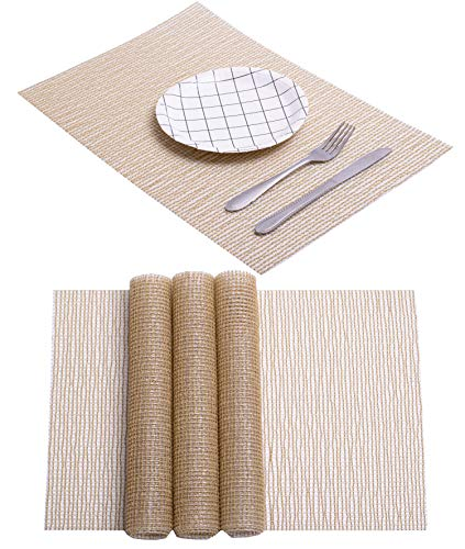 High-range Gold Mat Shiny Hollow Design Transparent Pearl Spring Dining Table Mat Kitchen Woven Rectangular Placemat Plate Non Slip Wipeable Washable PVC Wine Food Folding Mat (Pearl Gold x 4)