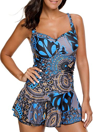 Women's Shaping Body One Piece Swimdress Printed Skirted Puls Size Swimsuit,Blue,XL(US 14-16) (Or Swimsuit Suit Bathing)